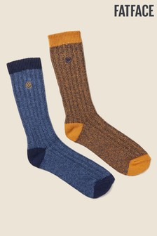 FatFace Yellow Chevron Socks Two Pack