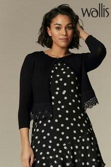 Wallis Black Lace Trim Cardigan