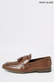River Island Brown Medium Trigger Embroidered Vamp Loafers