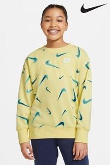 Nike Yellow All Over Print Sweat Top