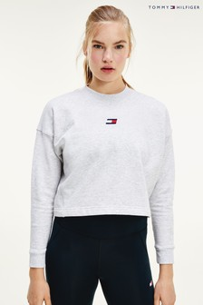 Tommy Hilfiger Grey Cropped Logo Sweatshirt