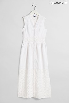 GANT White Broderie Anglaise Maxi Dress