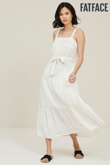 FatFace White Nita Broderie Dress