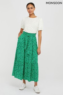 Monsoon Green Manilla Print Ecovero Maxi Skirt