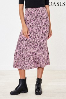 Oasis Purple Leopard Midi Skirt