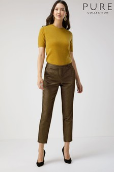 Pure Collection Gold Metallic Ankle Length Trousers
