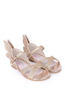 Girls Gold Glitter Embroidered Sandals