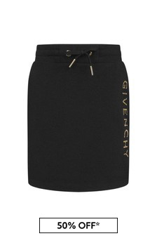 Givenchy Kids Girls Black Fleece Logo Skirt