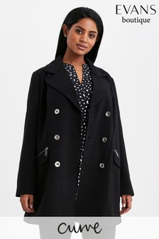 Evans Curve Black Double Breasted Military Coat