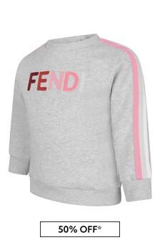 Fendi Kids Baby Grey Cotton Logo Sweater