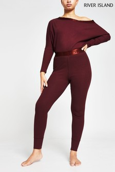 River Island Purple Seam Detail Rib High Waisted Leggings