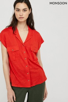 Monsoon Red Leena Linen Button Down Shirt