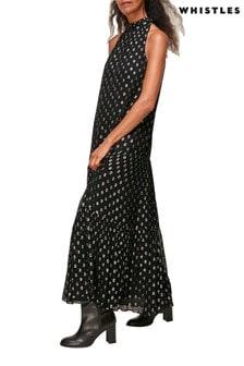 Whistles Black Spotted Metallic Trapeze Dress