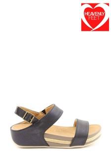 Heavenly Feet Vicky Ladies Black Low Wedge Sandals