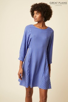 Great Plains Blue Salerno Stripe Wide Neck Dress