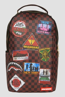 Sprayground Brown Travel Patches Backpack