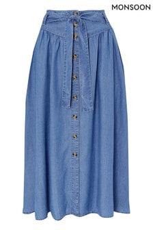 Monsoon Blue Tammy TENCEL™ Midi Skirt