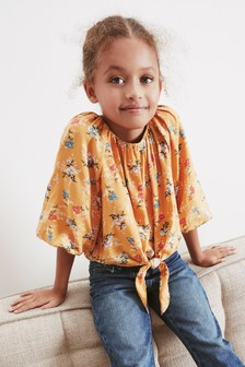 Puff Sleeve Tie Front Blouse (3-16yrs)