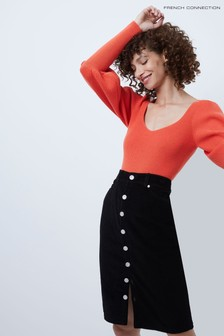 French Connection Orange Joss Knits Puff Sleeve Jumper