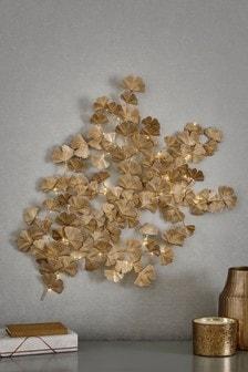 Golden Leaves Lit Wall Art