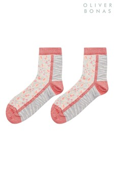 Oliver Bonas Animal Spot & Colourblock Pink Ankle Socks