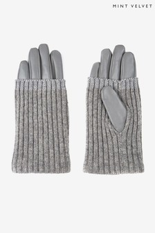 Mint Velvet Grey Leather Knitted Gloves