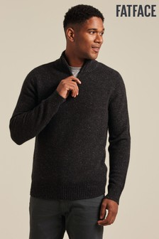 FatFace Grey Cashmere Half Neck Jumper