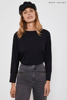 Mint Velvet Black 3/4 Sleeve Batwing T-Shirt