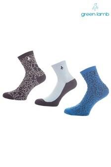Green Lamb Navy Patterned Socks Three Pack