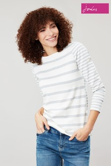 Joules Cream Harbour Stripe Jersey Top