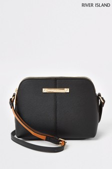 River Island Black Small Double Comp Bag