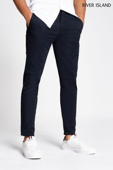 River Island Navy Axis Smart Chinos