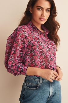 Long Sleeve Print Sheer Shirt