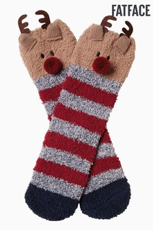 FatFace Red Cosy Reindeer Socks