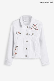 Abercrombie & Fitch Floral Embroidered Denim Jacket