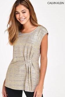 Calvin Klein Gold Sleeveless Wrap Top