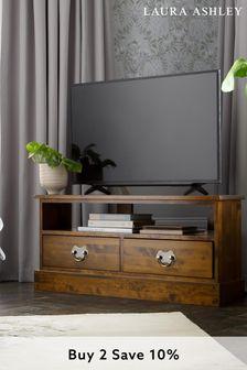 Garrat Dark Chestnut Corner Tv Unit by Laura Ashley