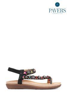 Pavers Black Ladies Embellished Toe-Post Sandals