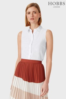 Hobbs White Sleeveless Vic Shirt