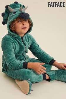 FatFace Green Dinosaur Fleece Onesie