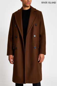 River Island Brown Wool DB Coat