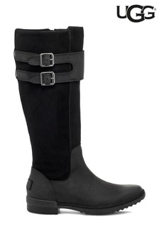 UGG® Black Zarina Leather Suede Tall Boots