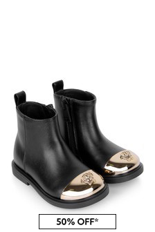 Girls Black/Gold Leather Boots