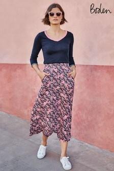 Boden Blue Jersey Midi Skirt