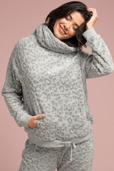 Figleaves Grey Cosy Leopard Embossed Cowl Neck Jumper