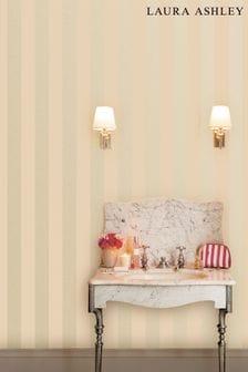 Laura Ashley Linen Lille Pearlescent Stripe Wallpaper