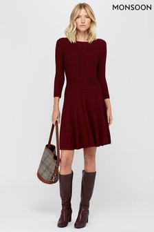 Monsoon Berry Freja Fit And Flare Knitted Dress