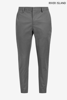 River Island Grey Axis Skinny Chino Trousers