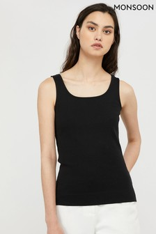 Monsoon Black Bridey Square Neck Vest