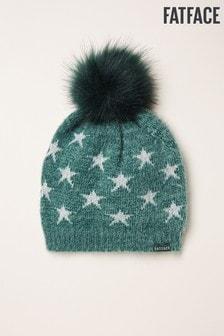 FatFace Green Star Knit Beanie